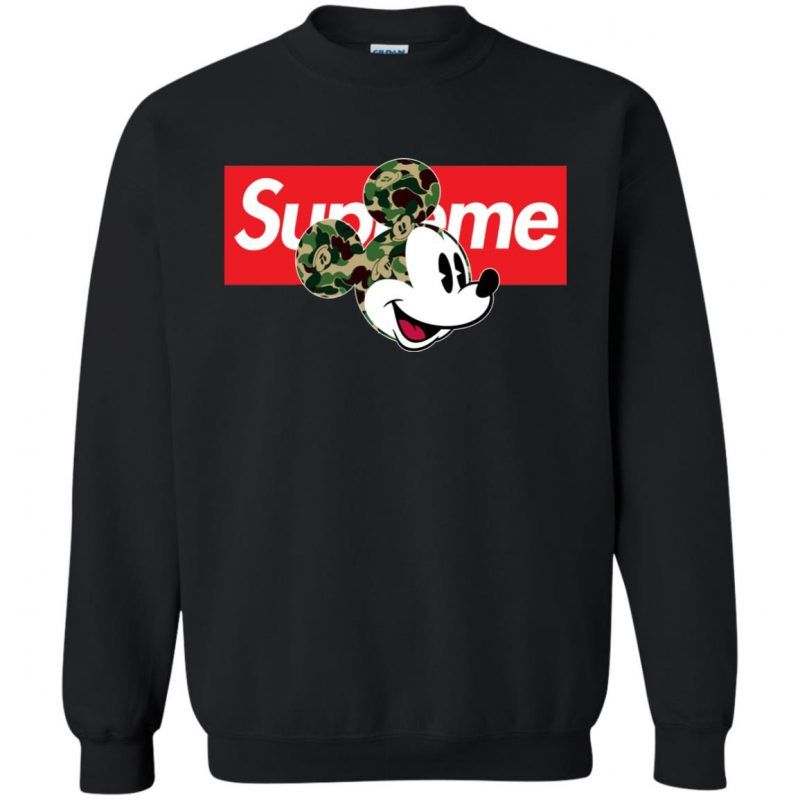 3ddcdf8576ca Supreme Disney Mickey Camouflage Sweatshirt - Shop Freeship US Clothing,  Accessories, Gifts for Unicorn, Holidays, Birthday, Sport and Movies