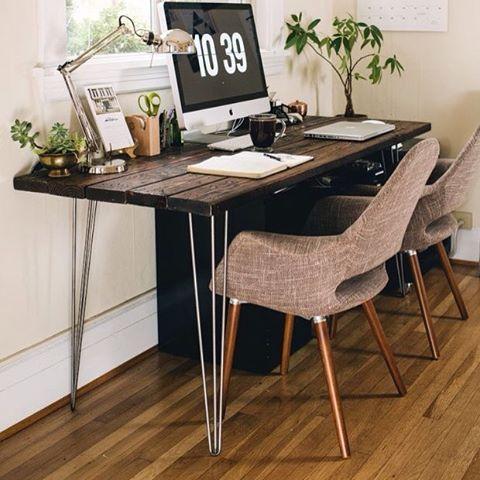 Escritorio r stico con patas de hierro para cualquier tipo - Patas para escritorio ...