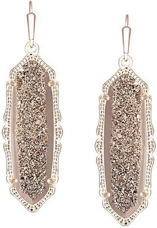 Kendra Scott Fran Earrings in Rose Gold Drusy Dainty Jewelry