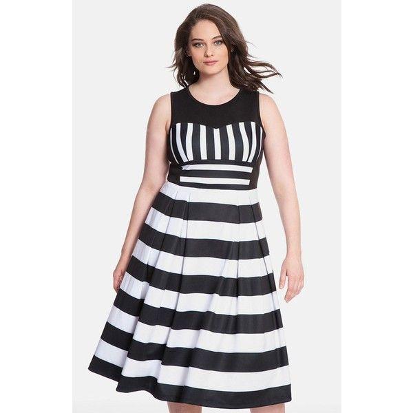 Plus Size Women's ELOQUII Stripe Pleat Midi Dress ($165) ❤ liked on Polyvore featuring plus size women's fashion, plus size clothing, plus size dresses, plus size, midi dress, fit flare dress, stripe dress, pleated midi dress and pleated dresses