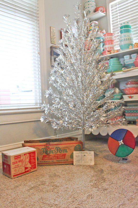 Complete Large Vintage Silver Aluminum Pom Pom Christmas Tree 88