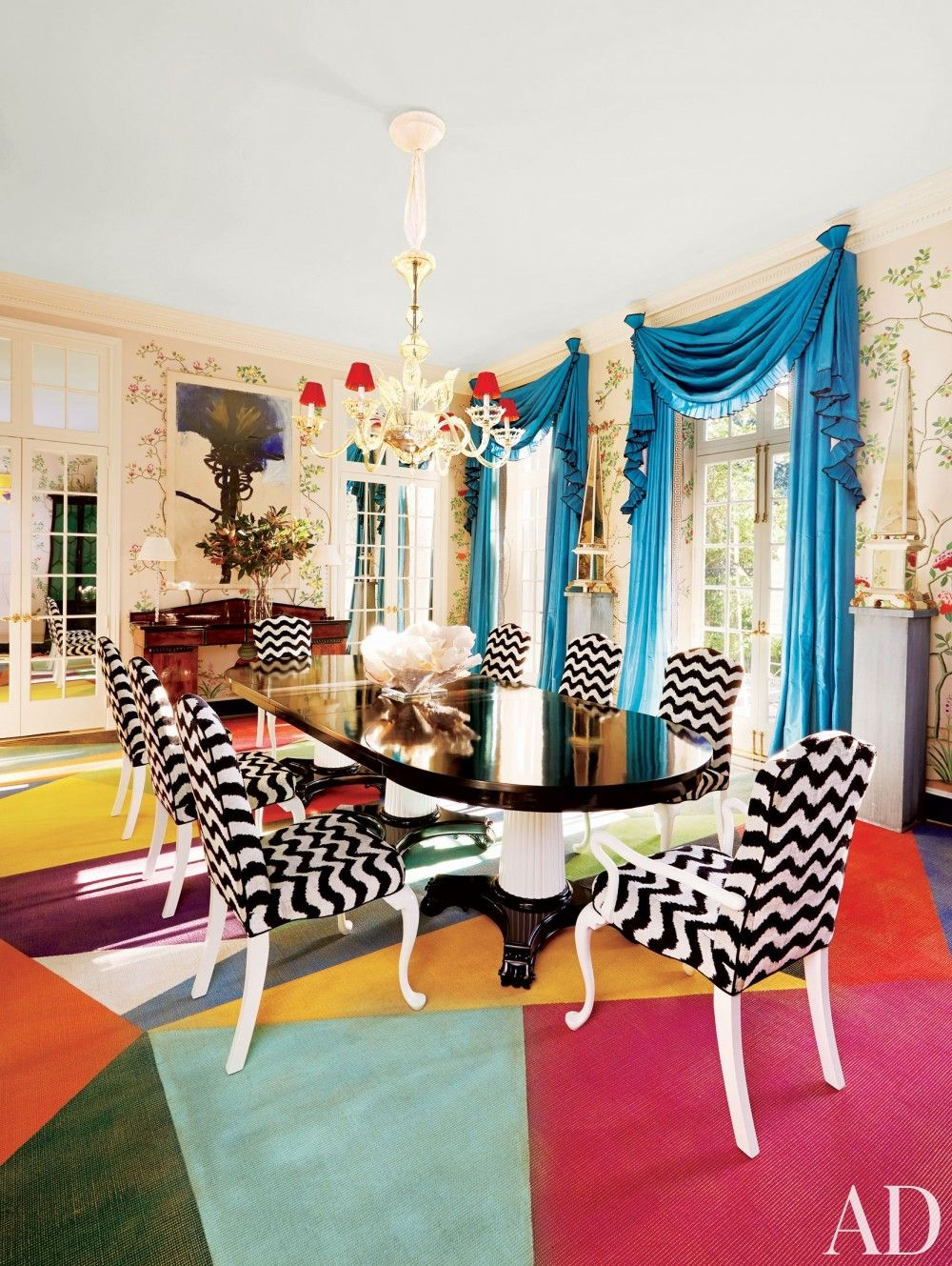 colorful dining room chairs. Colorful Geometric Rug Black White Dining Chairs Room Pillar Table Laquered Finish Better Decorating Bible F