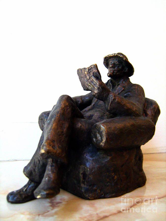 "'Man With Book' Sculpture by Nikola Litchkov (Fine Art America links this to Milen Litchkov, the sculptor's son.) 7"" x 6.25"" x 5"""