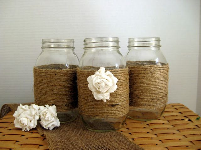 Oh One Fine Day: Fall Autumn Weddings, mason jars with burlap, center pieces
