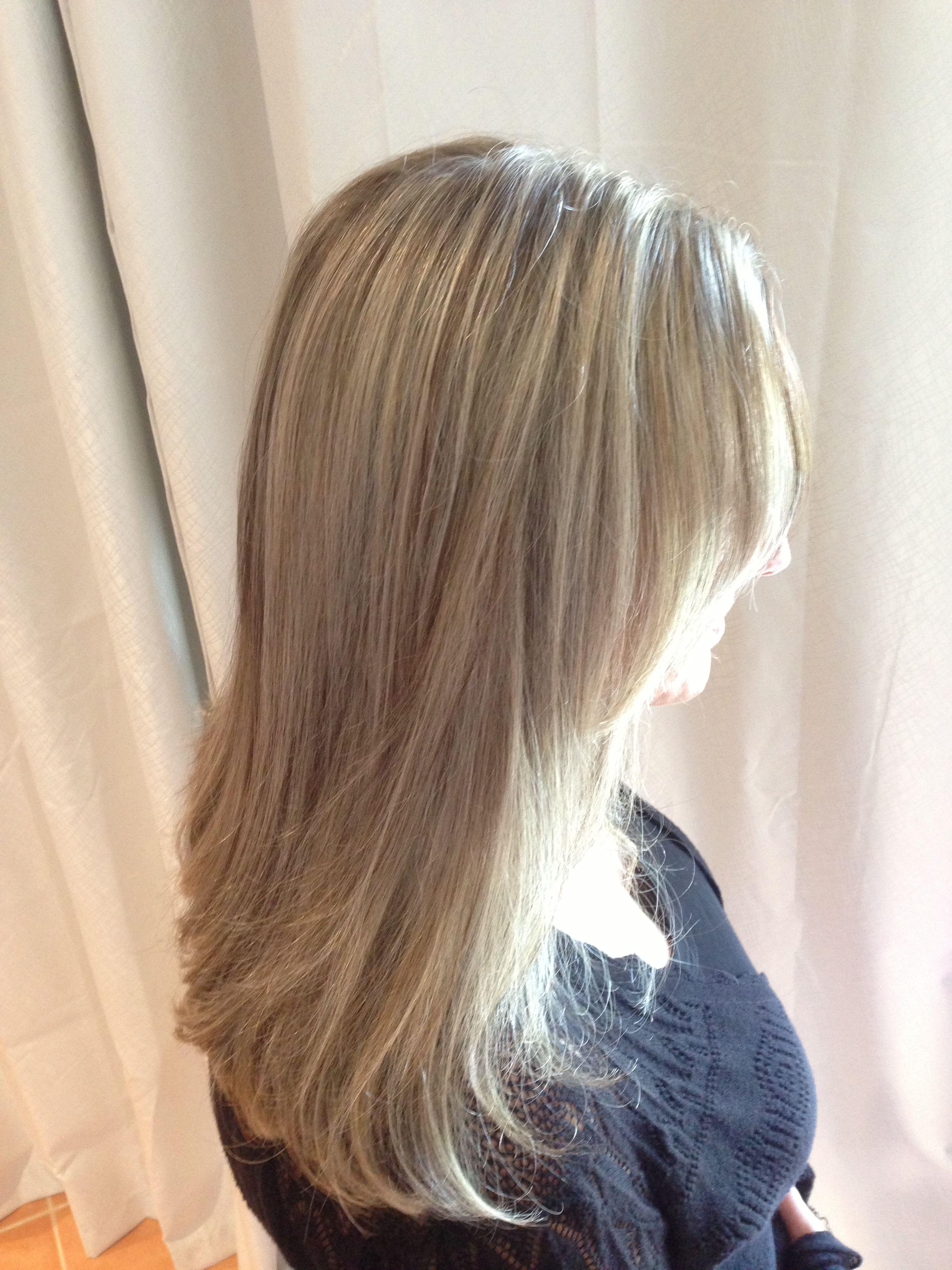 Blonde Foils My Style Braided Half Updo Long Hair