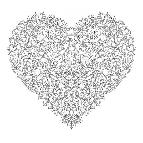 Coloriage Coeur Motif.Valentines Day Colouring By Johanna Basford Colouring