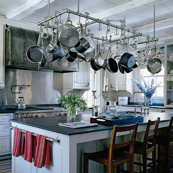 Soapstone Countertops Large Pot Rack Over Island Keukens Keuken