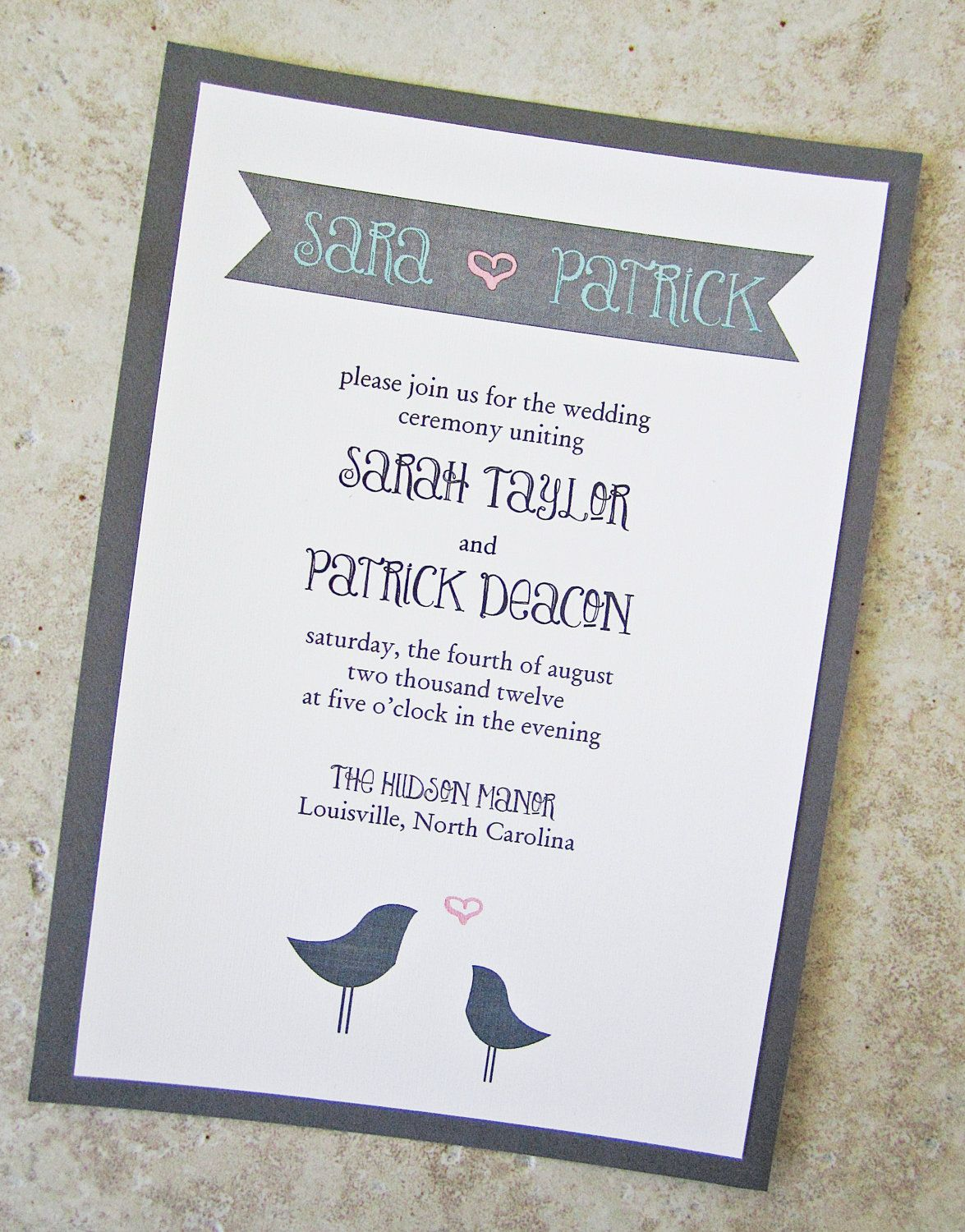Lovebirds Wedding Invitation - Pink Grey Blue Banner Lace Twine ...