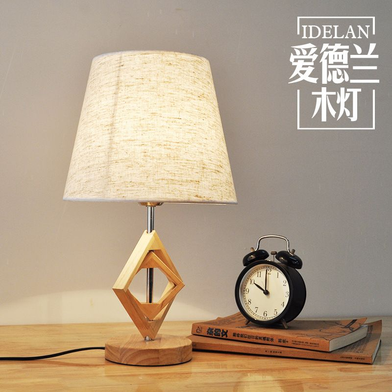 Tuda bedroom bedside table lamp modern chinese solid wood retro tuda bedroom bedside table lamp modern chinese solid wood retro table lamps creative study hotel oak aloadofball