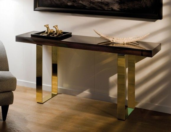 Caroline Luxury Italian Designer Makassar Wood Console With Metal Base | Modern Console Tables, Contemporary Console Table, Console Table