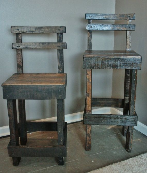 Marvelous Pallet Wood Bar Stool With Back By Upcycledwoodworks On Etsy Bralicious Painted Fabric Chair Ideas Braliciousco