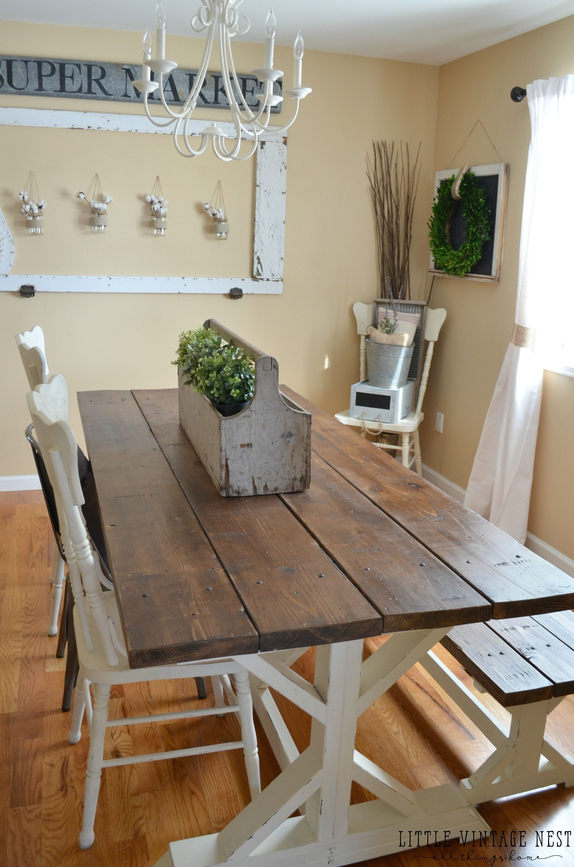 Modern farmhouse dining room makeover farmhouse style for Modern dinning room table