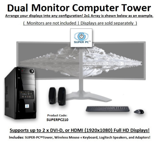 SUPER PC | Dual Display Mid-Tower Computer System | 5th Gen Intel Core i7 Six-Core CPU | SUPERPC210