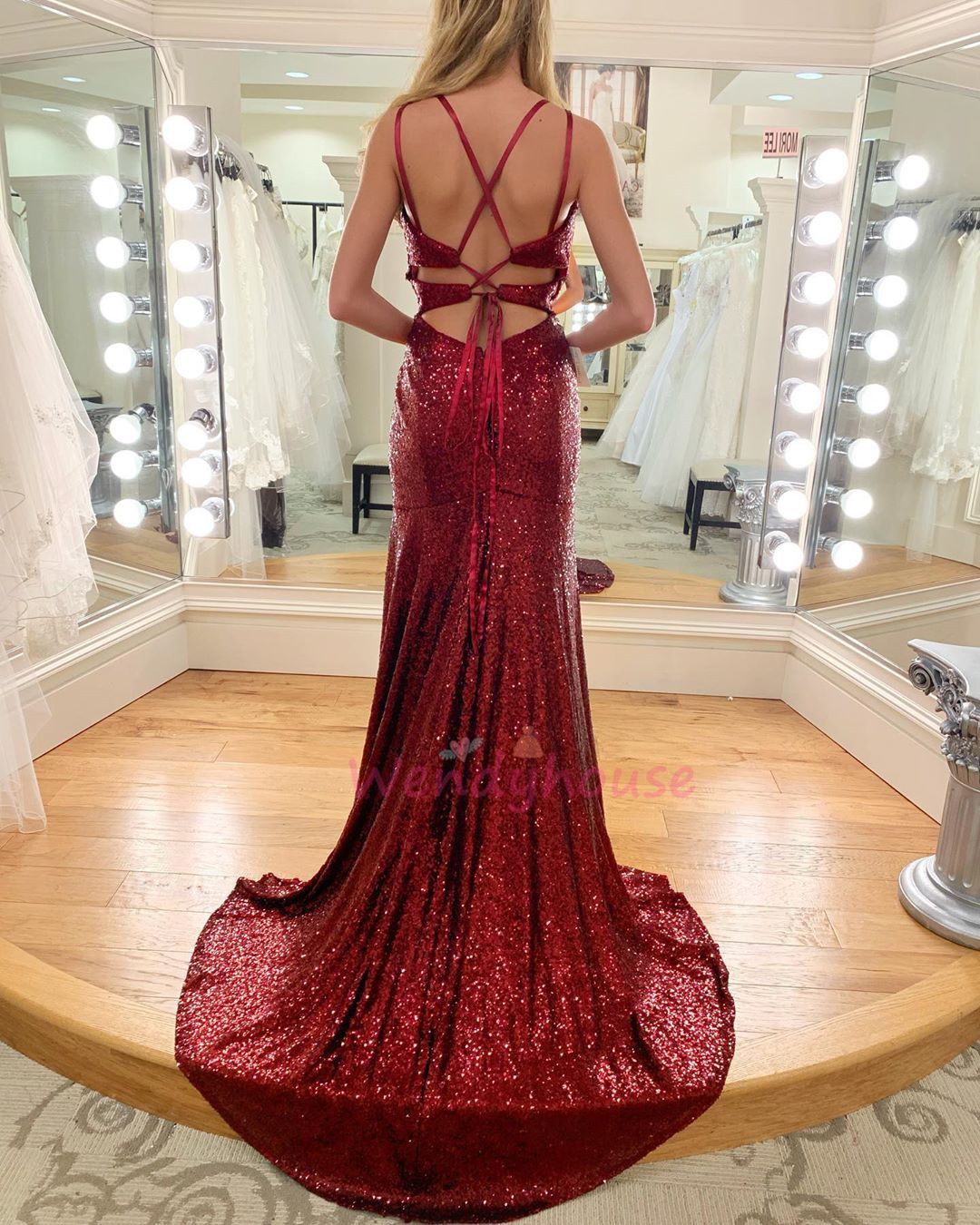 Gorgeous Wine Red Sequins Mermaid Formal Dress Burgundy Prom Dress Prom Dresses 2020 Burgundy Wine Colored Prom Dresses [ 1350 x 1080 Pixel ]