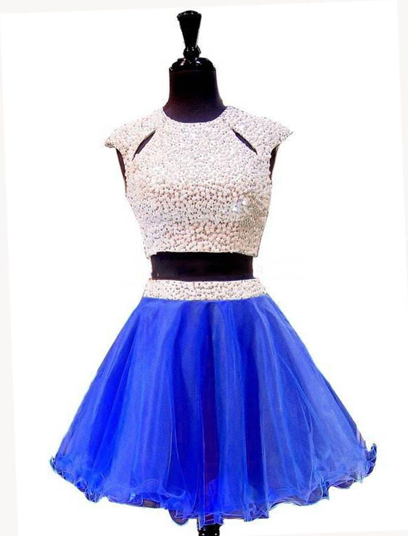 blue short homecoming dresses two piece prom dress rhinestones