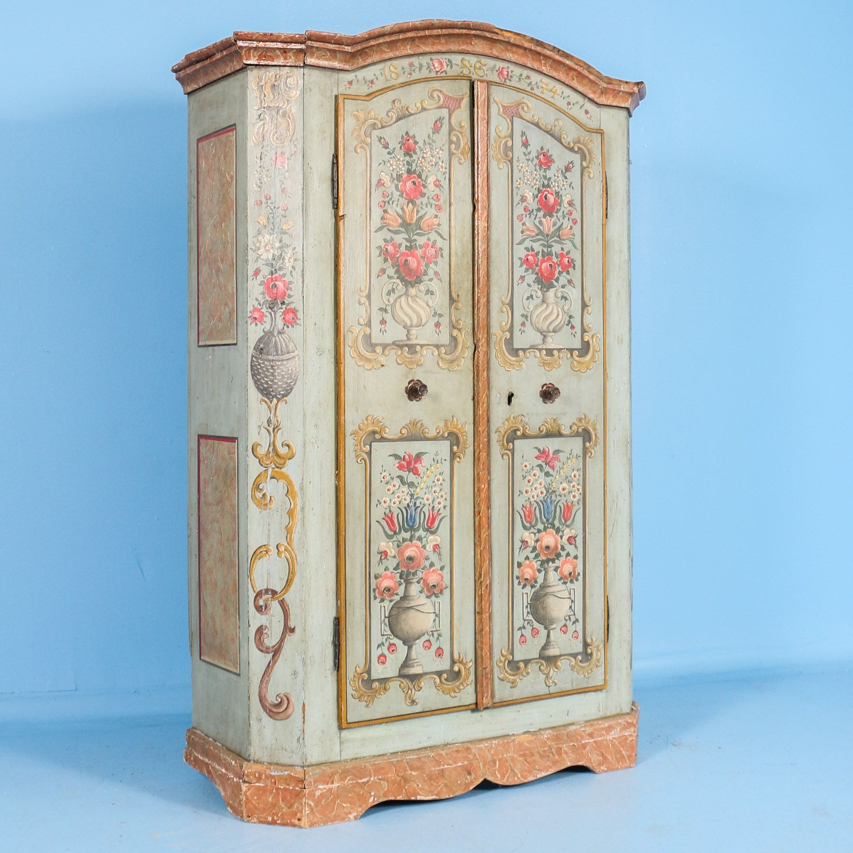 Beautiful And Highly Painted Armoire With Floral Details Dated 1874 Painted Armoire Painting Antiques