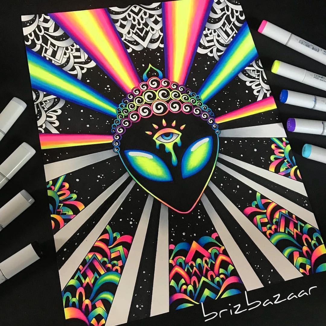 Psyvibez By Brandi Young Instagram Brizbazaar Alien Extraterrestrial Abduction Invasion Buddha Th Psychedelic Drawings Hippie Painting Psychadelic Art