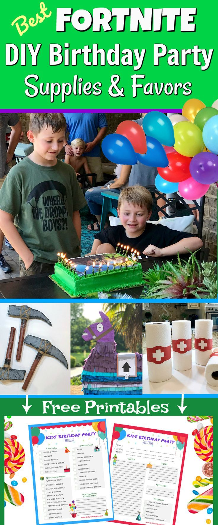 Make the Best Fortnite Battle Royale Birthday Party for your kids with easy, DIY tips and ideas for making your own supplies and party favors on a budget! Free Fortnite Printables and Fortnite templates! Fortnite party favor ideas for Fortnite video game party. Perfect for kids, teens, tweens & adults! Boys girls & guests will love supply drop goody bags! #fortnite #birthdayparty #kidsbirthday #fortniteparty #gamerparty #gamer #fortniteseason6 #fortnitebr #forkids #partydecor #partysupplies