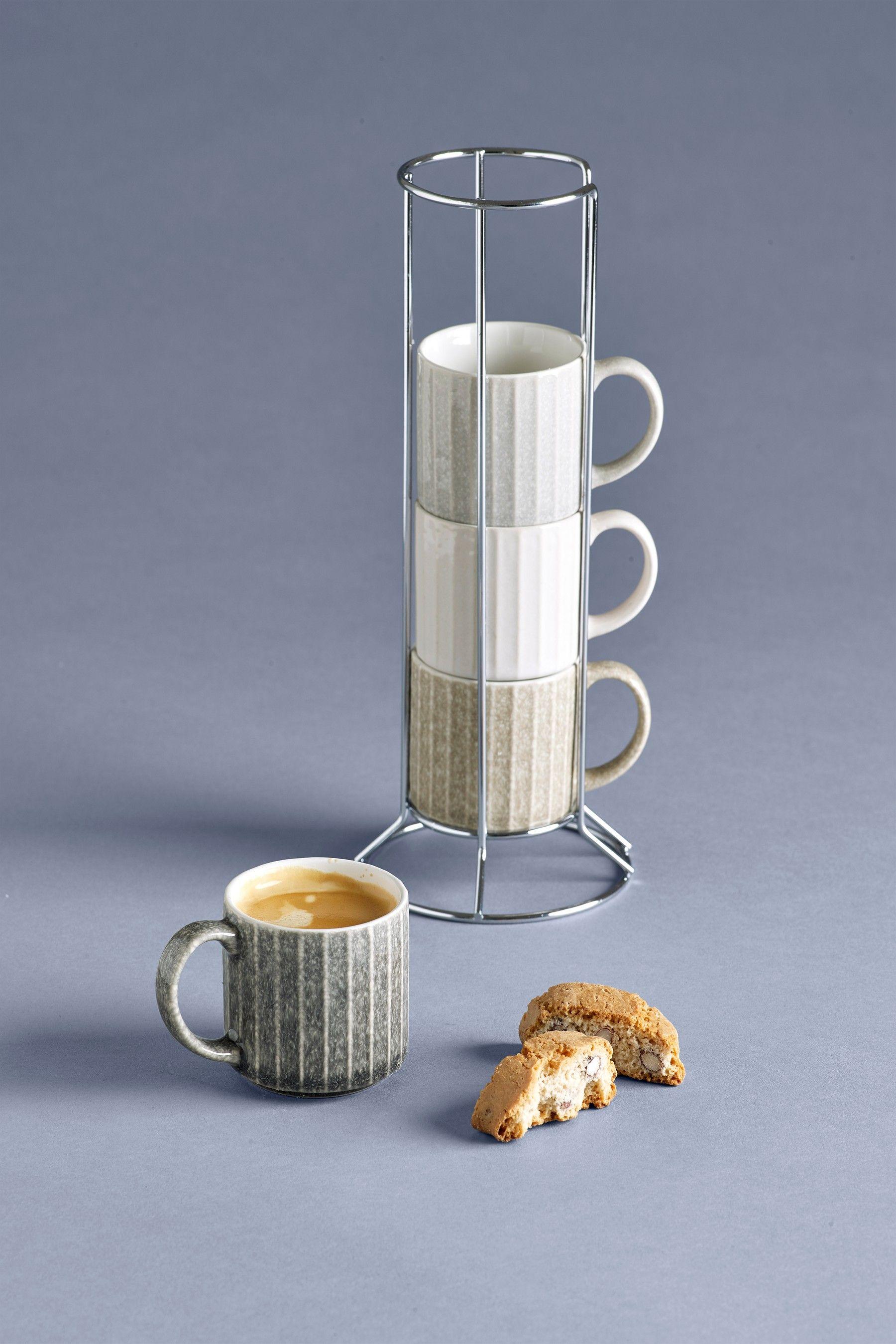 Next Set of 4 Reactive Espresso Stacking Mugs Natural Mugs