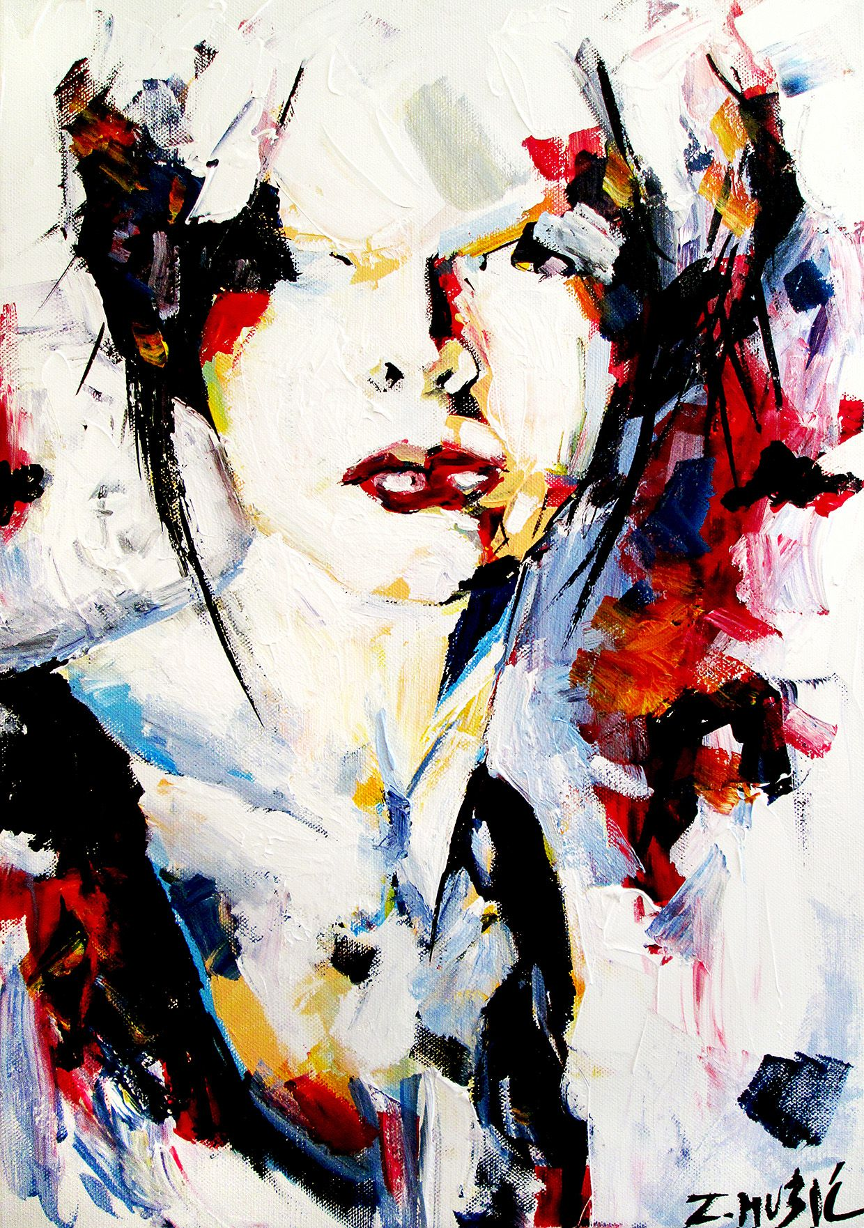 Abstract Portrait Acrylic On Canvas Contemporary Art Painting