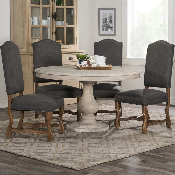 Kosas Home Rustic Wakefield Warm Grey Round Dining Table