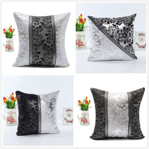 Floral-Thick-Black-Silver-Splice-Throw-Pillow-Case-Cushion-Cover