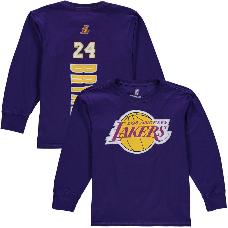 Kobe Bryant Los Angeles Lakers Youth Backer Long Sleeve T Shirt Purple Kobe Bryant Los Angeles Lakers Kobe Bryant Los Angeles