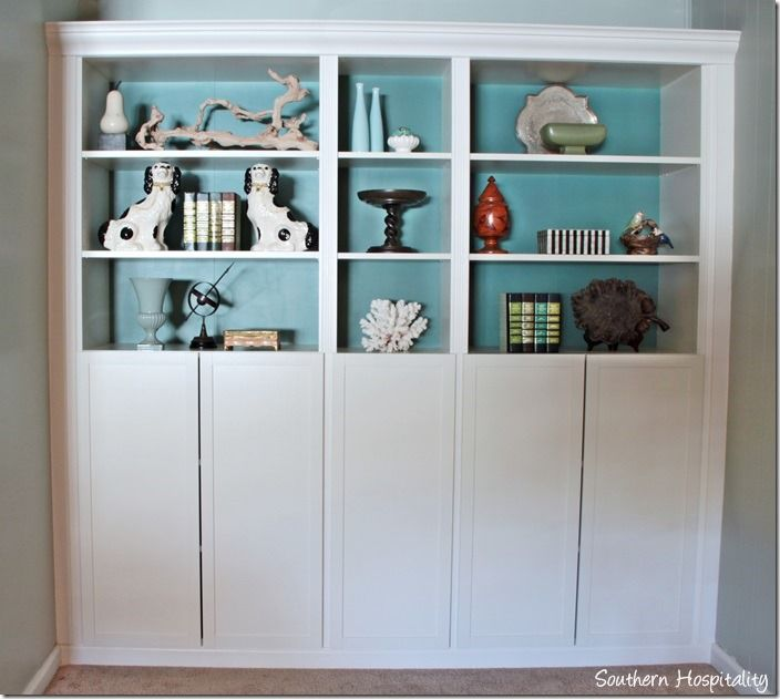Part 2: Building in Ikea Billy Bookcases with Molding | Moldings ...