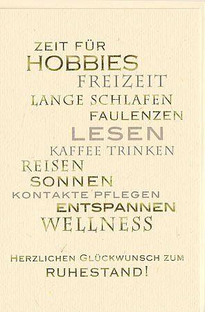 ruhestandskarte zeit für hobbies: amazon.de: bürobedarf