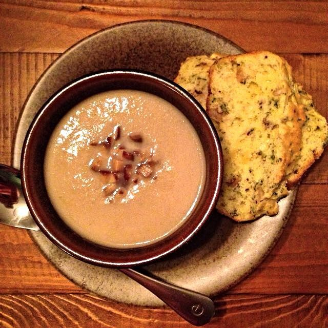 Parsnip, Pear and Chestnut soup. Savoury cheese and herb bread. Both adapted from Around My French Table by Dorie Greenspan. Lunch on!! - JenniferEmilson's Post On Foodstand