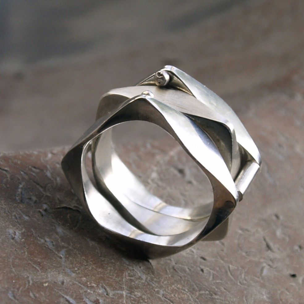 Modern ring Sterling silver stacking ring three in one by Menno
