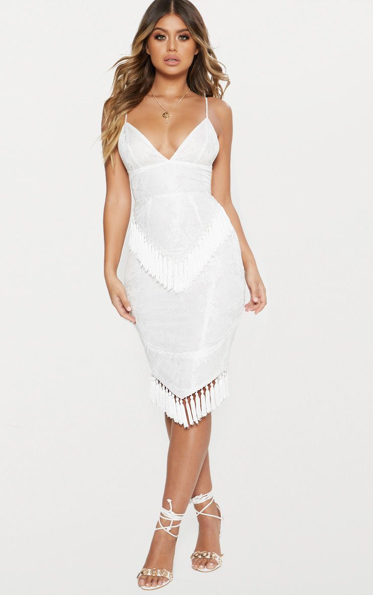 White Lace Tassel Trim Plunge Midi Dress in Character outfits