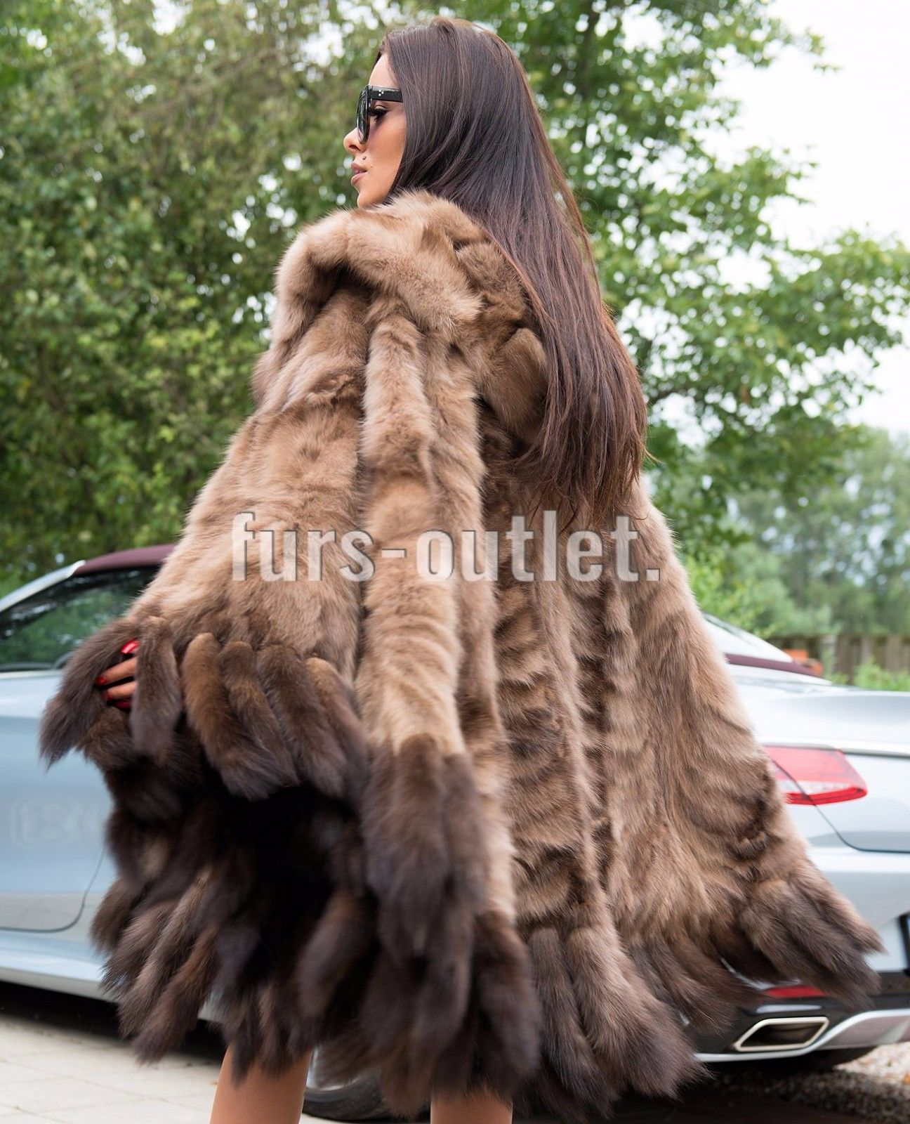 NEW RUSSIAN SABLE FUR LONG PONCHO HOOD CLAS JACKET COAT MINK FOX LYNX CHINCHILLA in Clothing, Shoes & Accessories, Women's Clothing, Coats & Jackets   eBay
