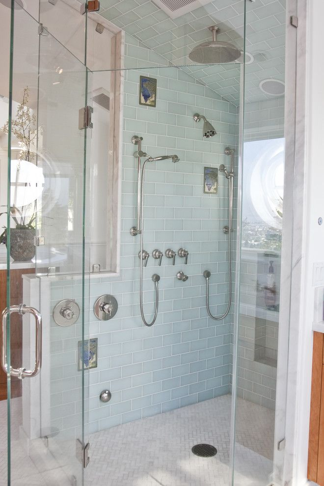 Sea Glass Tile Bathroom Traditional With Custom Tiles Frameless Glass