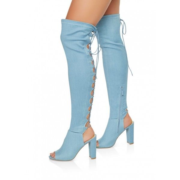 b1c8945de729 Light Blue Denim Chunky heel Lace Up Boots Over-the-knee Boots for Date