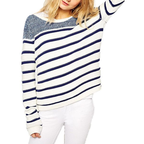 Chicnova Fashion Round Neckline Striped Sweater ($16) ❤ liked on Polyvore featuring tops, sweaters, white sweater, acrylic sweater, white striped sweater, white tops and round neck sweater