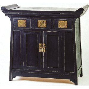 Simple Japanese Style Furniture 39 Black Altar Top Console