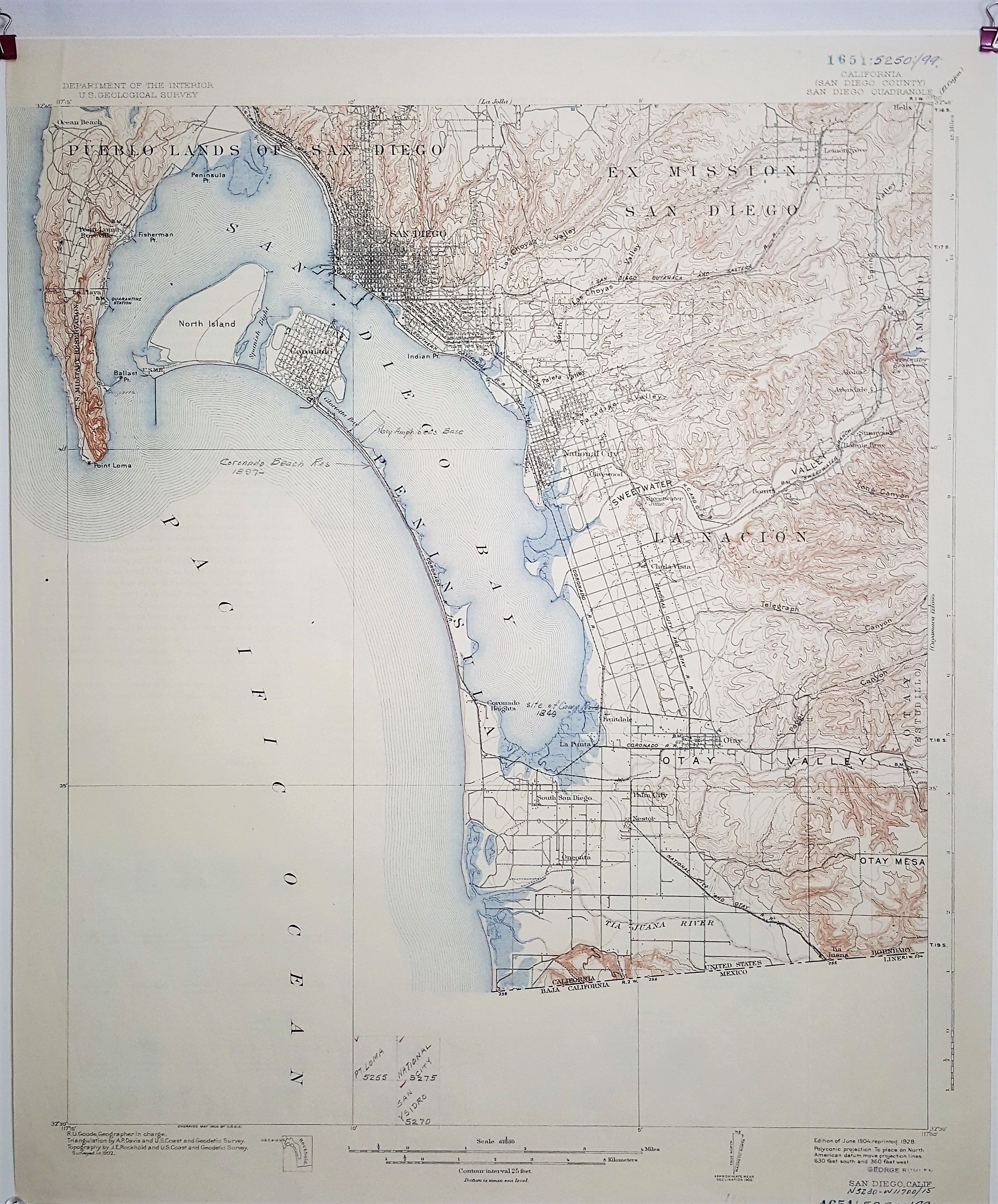HD Decor Images » A vintage double sided topographic map of California  San Diego     A vintage double sided topographic map of California  San Diego County  San  Diego Quadrangle 1928 by Department of the Interior U S  Geological Survey  by