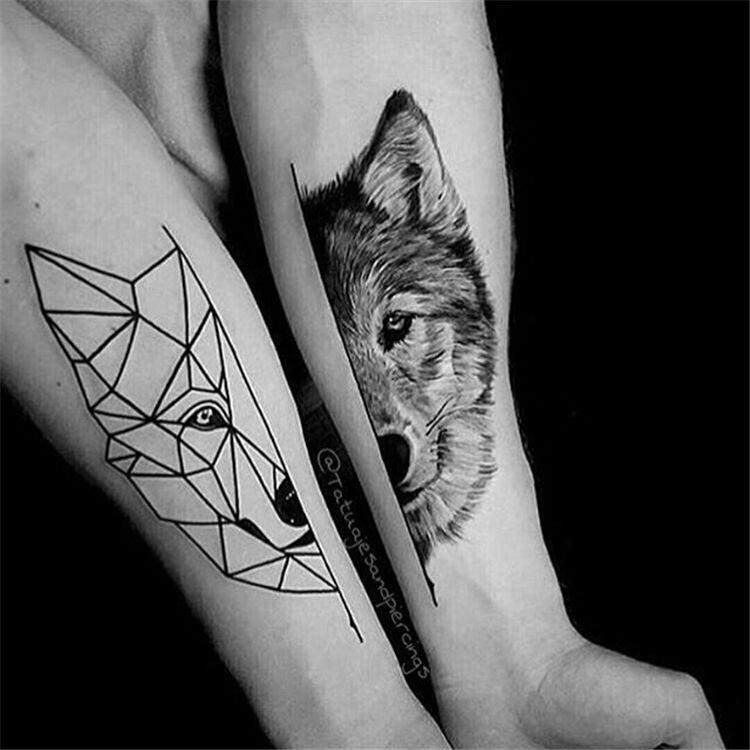 60 Meaningful Unique Match Couple Tattoos Ideas Geometric Wolf Tattoo Geometric Tattoo Tattoos