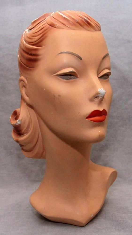 Vtg Antique 15 Woman S Head Mannequin Store Display 1930 S 40 S Vintage Mannequin Mannequins Sculpting