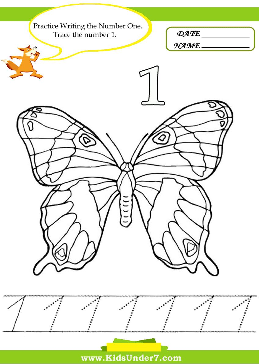 Number Tracing 1 10 Worksheet Part 2 Butterfly Coloring Page