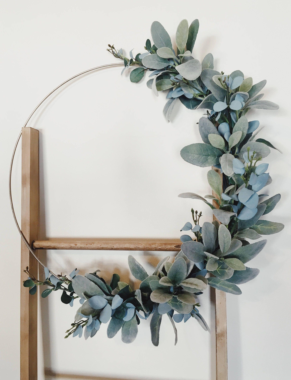 Modern Wreath Hoop Wreath Lambs Ear Wreath Eucalyptus