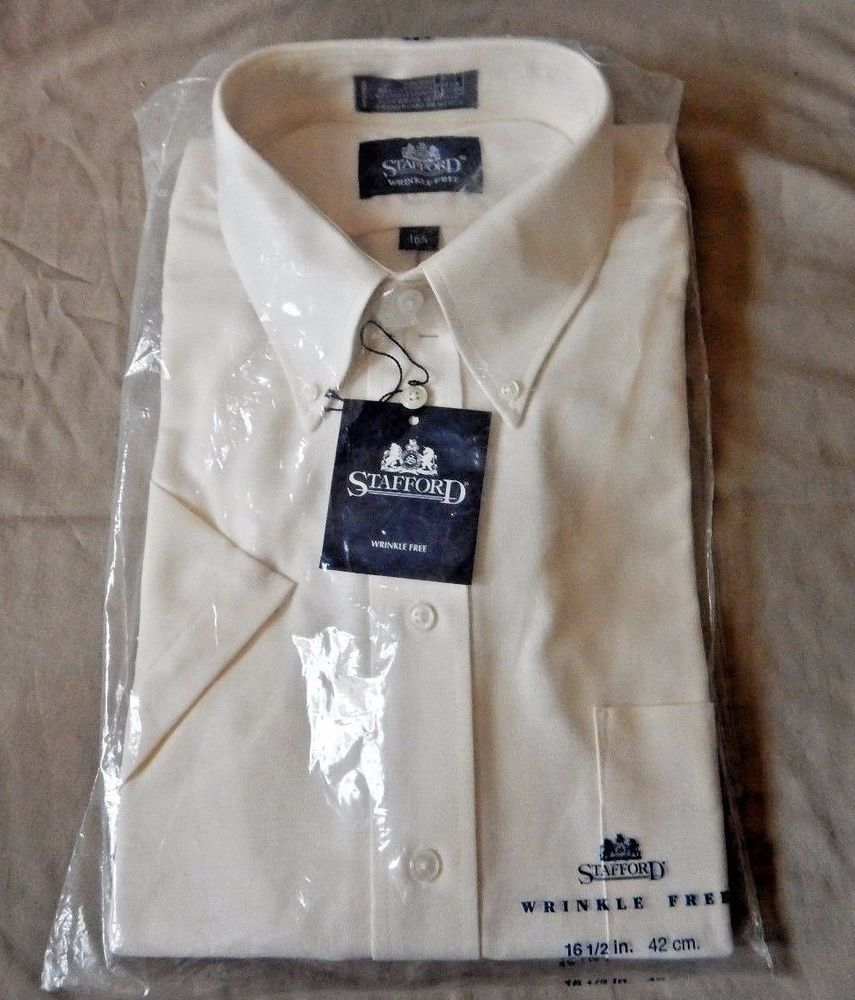 Nwt Mens Stafford Short Sleeve Ecru Dress Shirt Wrinkle Free 16 12