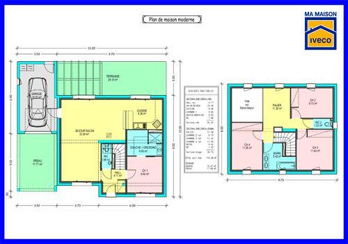 plan-maison-moderne-etage-1jpg (500×351) plans Pinterest
