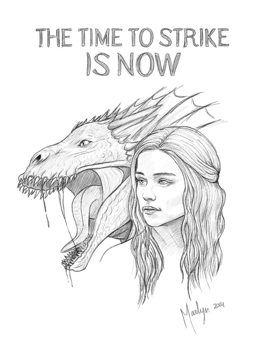daenerys targaryen and her dragon drogon by lamarlyn