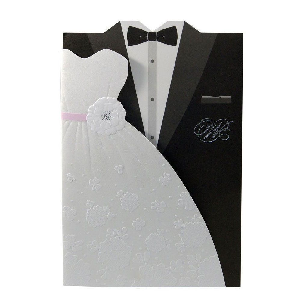 Black White Embossed Tuxedo Dress Wedding Invitations - TU004 ...
