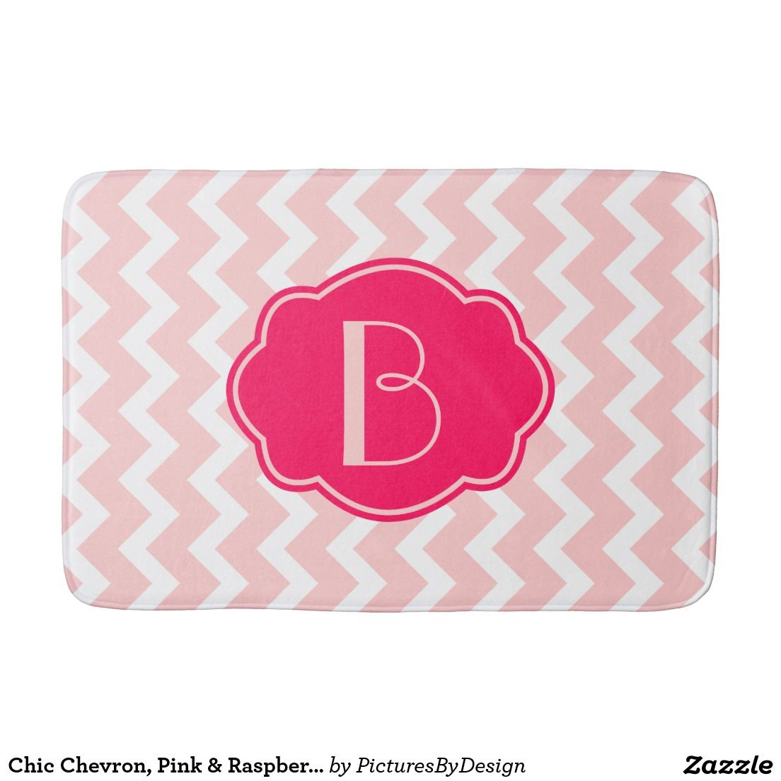 Trendy Chevron Bath Mat In Pastel Pink White Personalize With