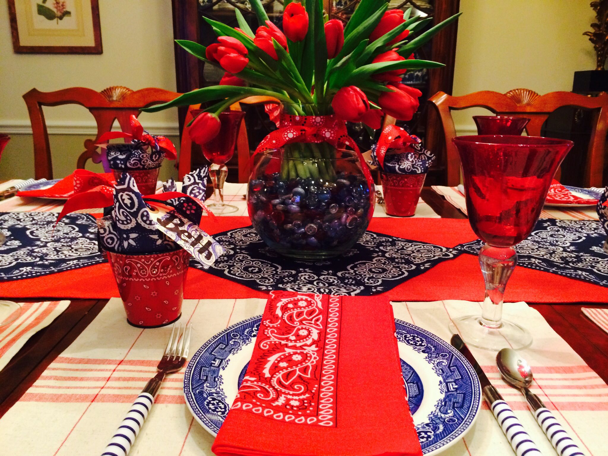 Red & Blue Bandana theme party place setting