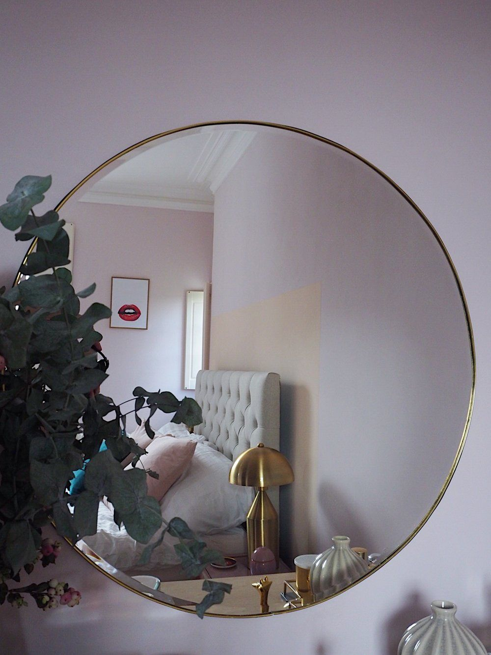 Pink and peach pastel bedroom. Light pink bedroom. Dressing table area.  Large brass trim mirror. Bedroom decor. Bedroom Inspo. Pink Interiors.