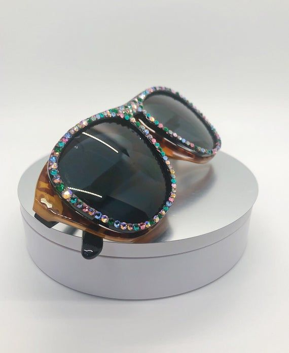 Unique Sunglasses - Rhinestone Embellished with Gr